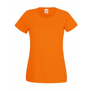 Fruit-of-the-Loom-Ladyfit-Valueweight-Naisten-Puuvilla-T-Paita-Painatus-Orange