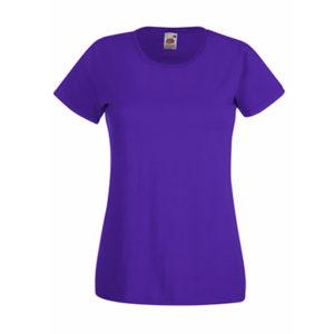 Fruit-of-the-Loom-Ladyfit-Valueweight-Naisten-Puuvilla-T-Paita-Painatus-Purple