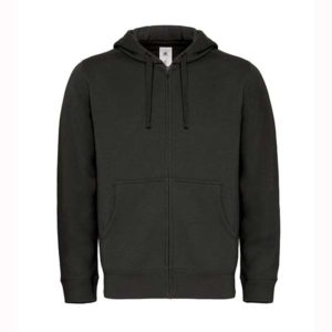 B&C-Full-zip-hooded-sweatshirt-Miesten-Vetoketjullinen-Huppari-Black-musta