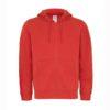 B&C-Full-zip-hooded-sweatshirt-Miesten-Vetoketjullinen-Huppari-Red-punainen