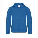 B&C-Kids-Full-Zip-Hooded-Sweatshirt-Lasten-Vetoketjullinen-Huppari-Painatuksella-RoyalBlue-sininen