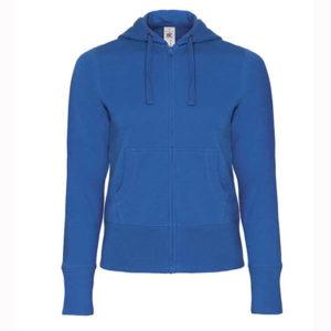 B&C-Women-Full-Zip-Hooded-Sweatshirt-Naisten-Vetoketjullinen-Huppari-RoyalBlue-sininen