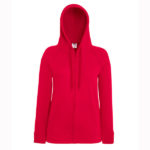 Fruit-Of-The-Loom-Lady-Fit-Lightweight-Hooded-Sweat-Jacket-Naisten-Vetoketjullinen-Huppari-Red-Punainen