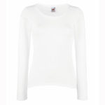 Fruit-Of-The-Loom-Lady-Fit-Valueweight-Long-Sleeve-T-Naisten-pitkähihainen-T-paita-White-valkoinen
