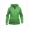 clique-basic-hoody-full-zip-ladies-naisten-vetoketjullinen-huppari-apple-green