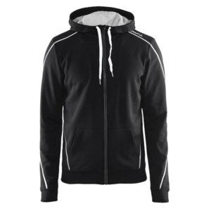 Craft-In-the-zone-Full-Zip-Hood-M-miesten-vetoketjullinen-huppari-black-white-grey-melange