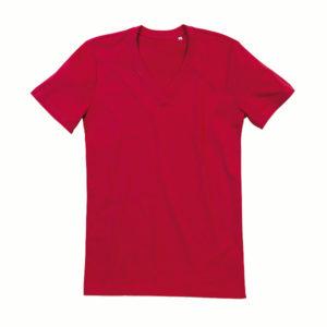 Stedman-ST9210-James-Organic-V-neck-miesten-v-aukkoinen-t-paita-Pepper-red-punainen