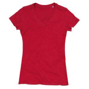 Stedman-ST9310-Janet-Organic-V-Neck-naisten-v-aukkoinen-t-paita-Pepper-red-punainen