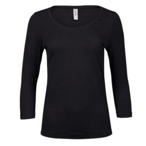 Tee-Jays-Ladies-3-4-Sleeve-Stretch-Tee-naisten-paita-black