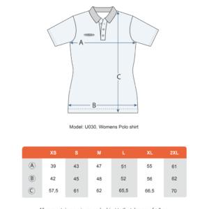Teamshield-Essential-Women-Sublimation-Polo-Shirt-Jersey-Custom-Print-Logo-Size-Chart