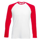 Fruit Of The Loom Baseball LS T miesten paita-white-red